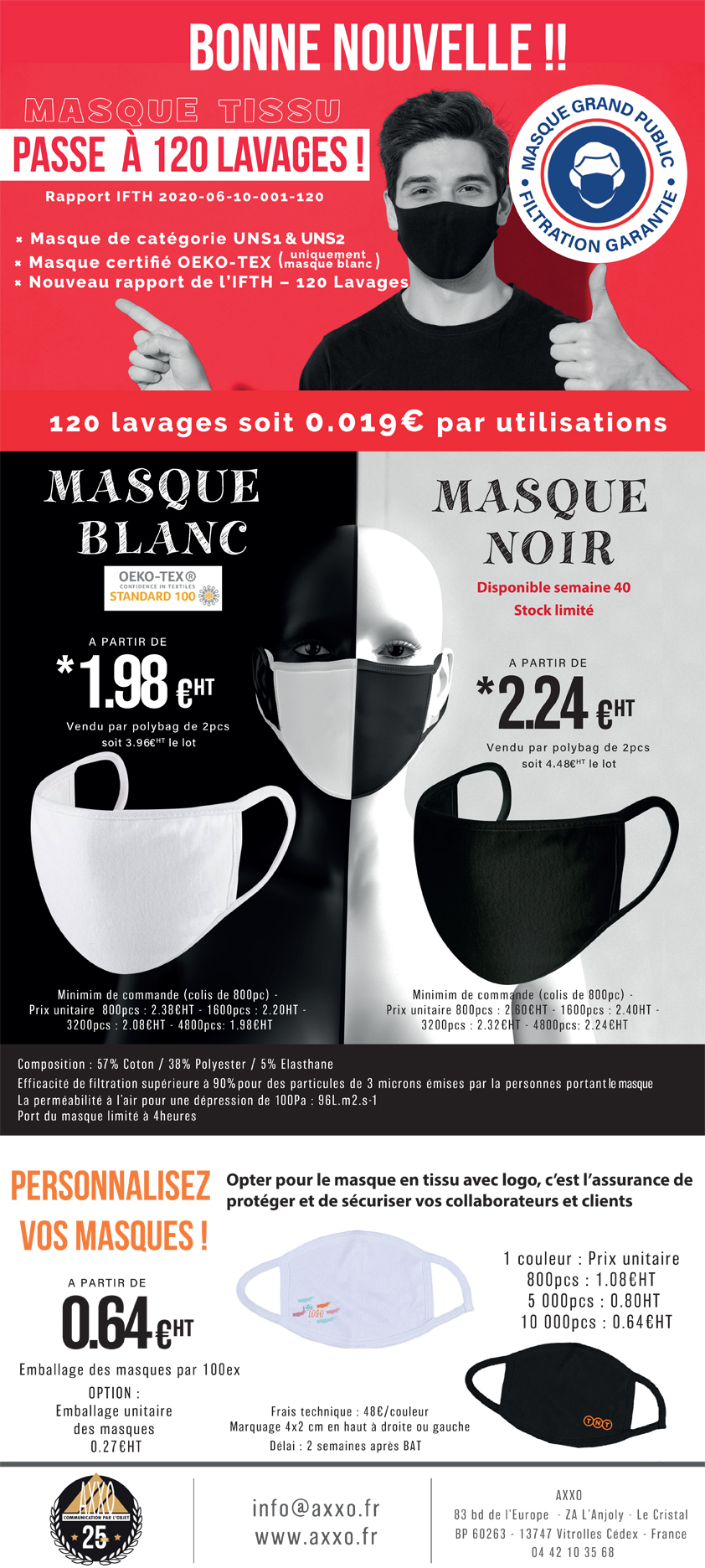 Jusqu'à 120 lavages pour un masque de protection !